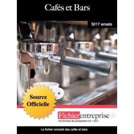 Fichier email des cafés et bars