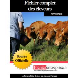 Fichier email complet des éleveurs