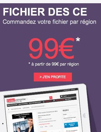 fichier email comité entreprise par région